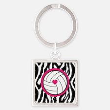 Volleyball -zebra print Keychains