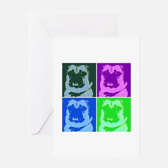 Pop Art Pug Greeting Cards