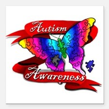 Autism Awareness Butterfly Design Square Car Magne