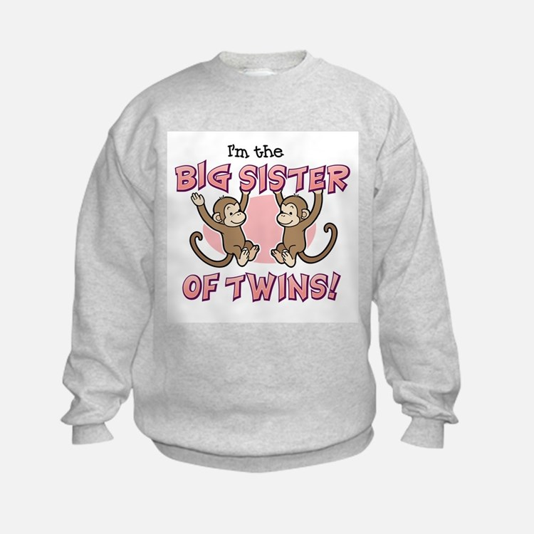 Big Sister of twins (Monkey) Sweatshirt