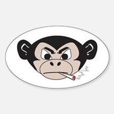 Smoking Monkey Oval Decal