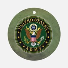 Army Seal Green Grunge Ornament (Round)