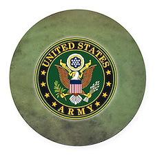 Army Seal Green Grunge Round Car Magnet
