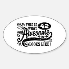 42nd Birthday Sticker (Oval)