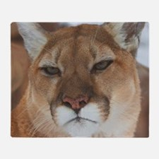Big Faced Cougar Throw Blanket