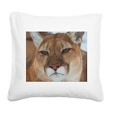 Big Faced Cougar Square Canvas Pillow