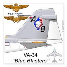 "A-6 Intruder Va-34 Blue Bsquare Car Magnet 3"""