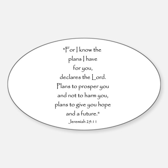 Jeremiah 29:11 Oval Decal