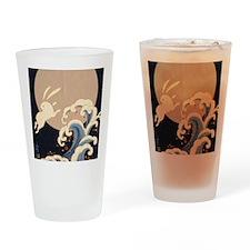 FULL MOON, WAVE, RABBITS Drinking Glass