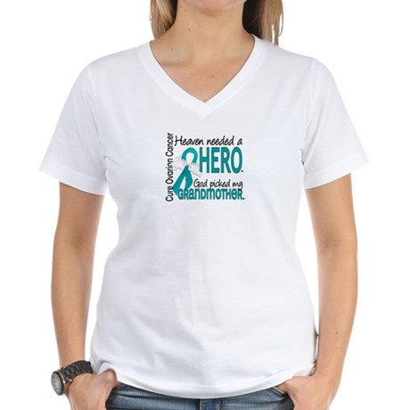 Ovarian Cancer Heaven Neede Women's V-Neck T-Shirt