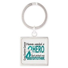Ovarian Cancer Heaven Needed Hero Square Keychain