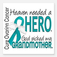 "Ovarian Cancer Heaven Ne Square Car Magnet 3"" x 3"""