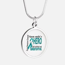 Ovarian Cancer Heaven Needed Silver Round Necklace