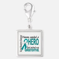 Ovarian Cancer Heaven Needed Silver Square Charm