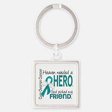 Ovarian Cancer Heaven Needed Hero Square Keychain