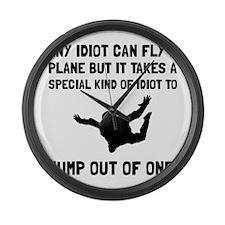 Idiot Skydiving Large Wall Clock