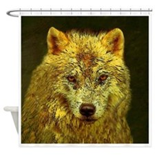 Golden Pencil Wolf Shower Curtain