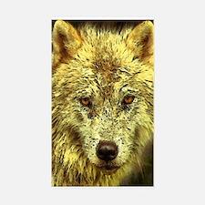 Golden Pencil Wolf Sticker (rectangle)
