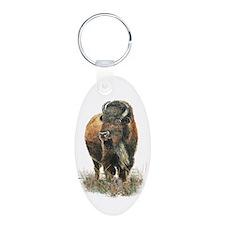 Watercolor Buffalo Bison Animal Art Keychains
