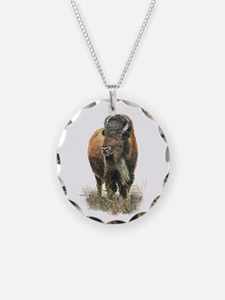 Watercolor Buffalo Bison Necklace