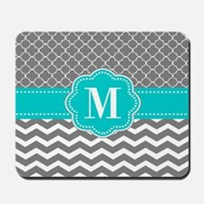 Gray Blue Chevron Monogram Mousepad