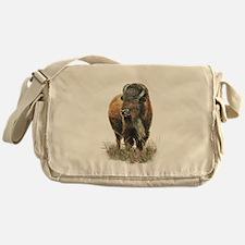 Watercolor Buffalo Bison Animal Art Messenger Bag