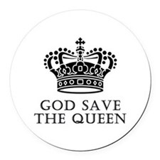 God Save The Queen Round Car Magnet