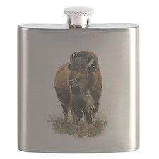 Watercolor Buffalo Bison Animal Art Flask