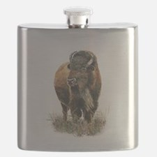 Watercolor Buffalo Bison Animal Art Flask