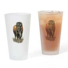 Watercolor Buffalo Bison Animal Art Drinking Glass
