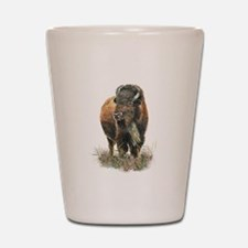 Watercolor Buffalo Bison Animal Art Shot Glass
