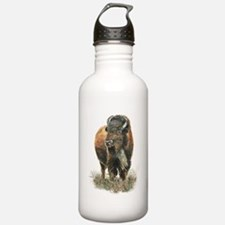 Watercolor Buffalo Bison Animal Art Water Bottle