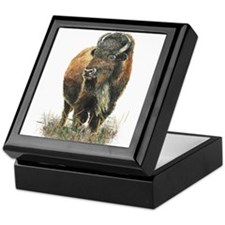 Watercolor Buffalo Bison Animal Art Keepsake Box