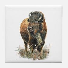 Watercolor Buffalo Bison Animal Art Tile Coaster