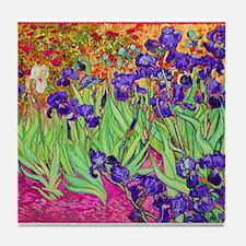 van gogh purple iris Tile Coaster