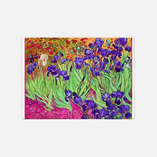 van gogh purple iris 5'x7'Area Rug