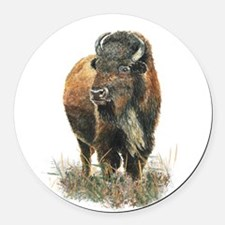 Watercolor Buffalo Bison Animal Art Round Car Magn
