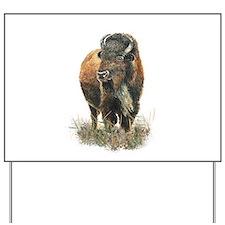 Watercolor Buffalo Bison Animal Art Yard Sign