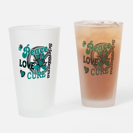 Scleroderma Peace Love Cure 2 Drinking Glass