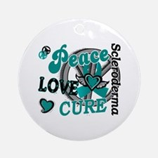 Scleroderma Peace Love Cure 2 Ornament (Round)
