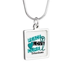 Scleroderma Peace Love Cur Silver Square Necklace