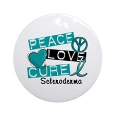Scleroderma Peace Love Cure 1 Ornament (Round)