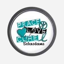 Scleroderma Peace Love Cure 1 Wall Clock