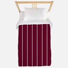 Vertical Pinstripe White BURGUNDY Background TWIN