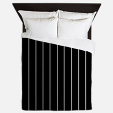 Vertical Pinstripe White BLACK Background QUEEN Qu