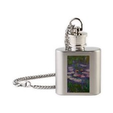 Claude Monet, pink and red waterlil Flask Necklace