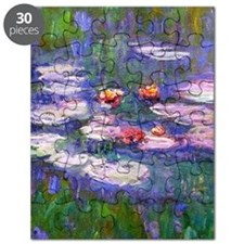 Claude Monet, pink and red waterlily, oil o Puzzle