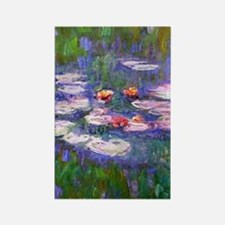 Claude Monet, pink and red waterl Rectangle Magnet