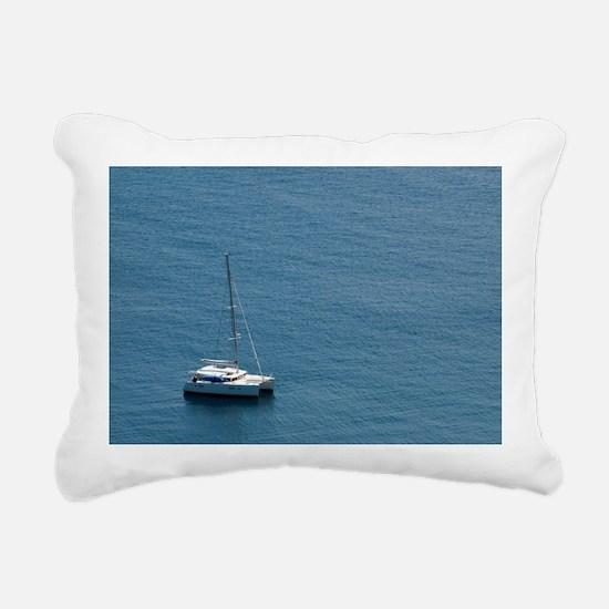 Luxury sailing catamaran Rectangular Canvas Pillow
