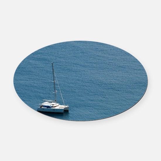 Luxury sailing catamaran Oval Car Magnet